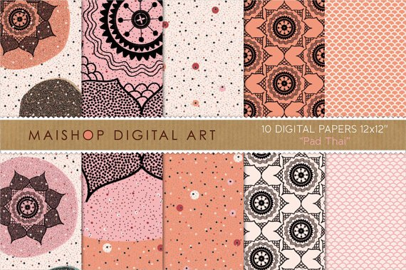 Digital Paper-Pad Thai-Org, Pink, Cream , Black Flowers, Polka Dots, Fish Scales