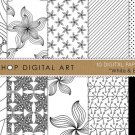 Digital Paper-Wh & Black-papers AbstractFlowersStripesDotsBackgroundsCardsPrinting