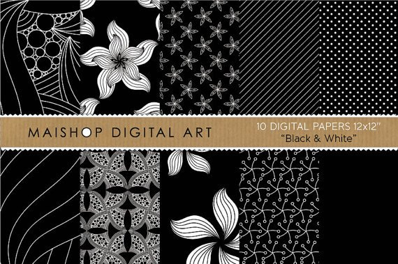 Digital Paper-Blk & Wh papers Abstract,Flowers,Stripes,Dots,for Scrapbook