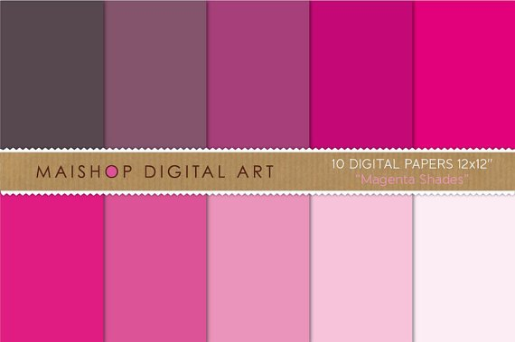 Solid Color Digital Paper - Magenta Shades