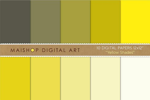 Solid Color Digital Paper - Yellow Shades