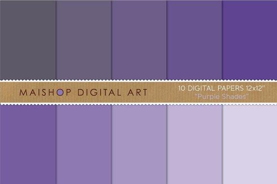 Solid Color Digital Paper - Purple Shades
