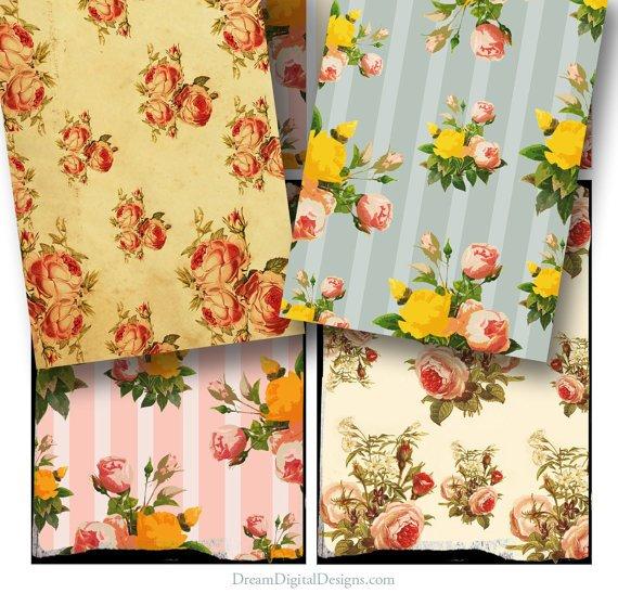Floral Vintage Wallpaper, Tags, Digital Collage Sheet, Printable Gift Tags