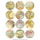 Digital Maps, 2.5 inch Circles, Collage Sheet, Digital Round Printable Img.