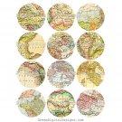 Digital Maps, 2.5 inch Circles, Collage Sheet, Digital Round Printable Img.