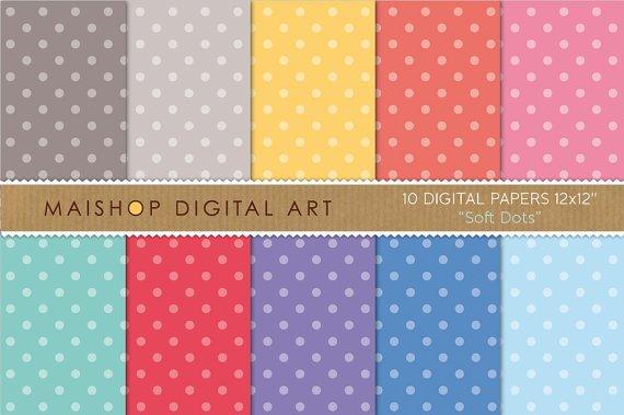 Digital Paper - Soft Dots - Polka Dots Digital Sheets - 12x12 inches