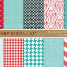Digital Paper-Red Mint-LinenFish ScalesHoundstoothChevronPolka DotsDigital for Cards