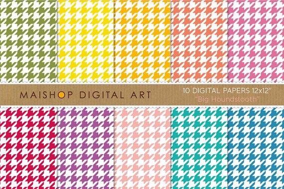 Digital Paper-Big Houndstooth-Patterned Digital Img. for ScrapbookingPrinting
