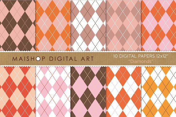 Digital Paper-Diamonds-Brw,Pink,Red,Org,Argyle Style Pattern print Digital for Cards