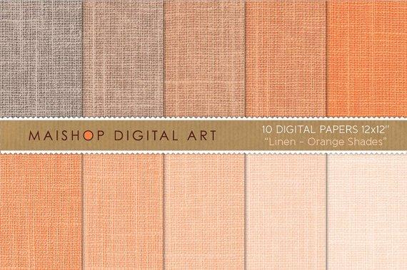 Digital Paper Linen - Orange Shades - Peach, Salmon - Background, Scrapbook
