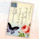 Printable Gift Tags, Butterfly ,  Rose Vintage Postcard front, Ephemera