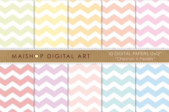 Digital Paper Chevron II Pastels