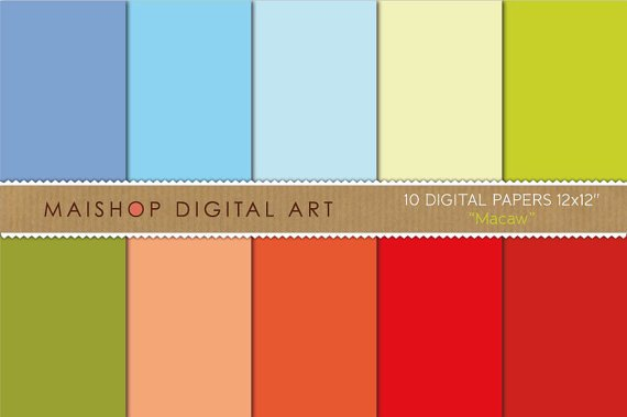 Solid Color Digital Paper - Macaw