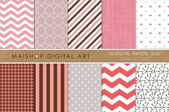 Digital Paper-Time to Sleep-PinkGrayChocolateBrwPolka DotsChevronStripesLinenHeartsHoundstooth