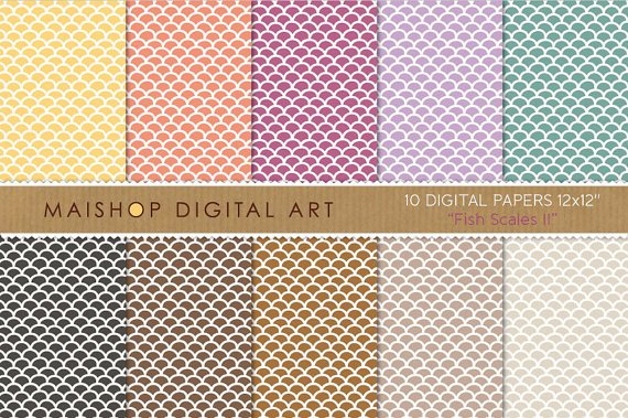 Digital Paper-Fish Scales II-YW,Org,Purp,Lilac,Grn,Blk,Brw ,Beige Backgroundsing