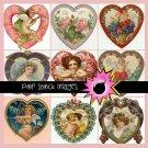 Vintage Valentine Img.-100 Heart Shaped Valentines-& Print Valentines-Digital Valentine Heart Img.