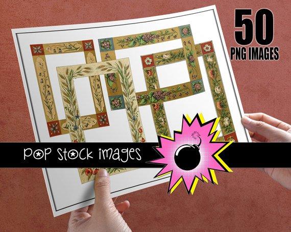 DIGITAL FRAME Images - 50 PNG vintage print