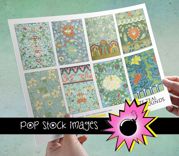 VINTAGE Ornate Teal for ATC ACEO-Collage-Altered Art-Journaling Cards-Digital Scrapbooking
