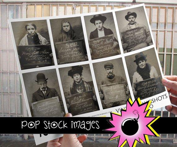 Vintage MUGSHOTS for ATC ACEO-Collage-Altered Art-Journaling Cards-Digital Scrapbooking-16 Mugshots