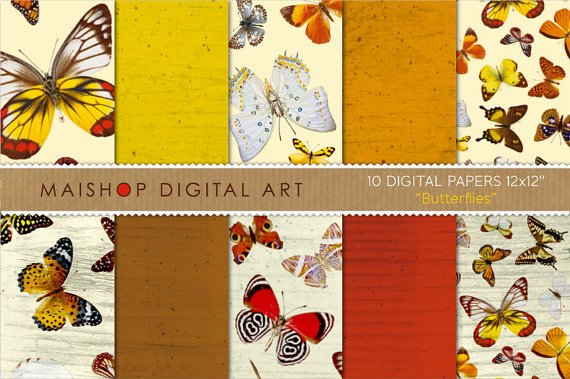 Digital Paper Butterflies