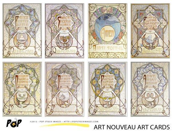VINTAGE Mucha Art Nouveau Art Cards ATC ACEO Backgrounds