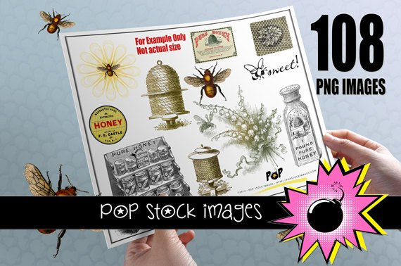 Bees & Beekeeping Digital Images for Scrapbooking, Altered Art ,  Crafting