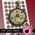 1 Inch Rounds 19th Century FLORALS Collage Sheet-print for PendantsMagnets