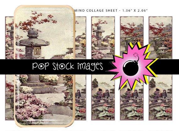 Japanese Garden Digital Domino Collage Sheet-print Tiles for Pendants