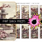 Japanese Garden Digital Domino Collage Sheet-print Tiles for Pendants
