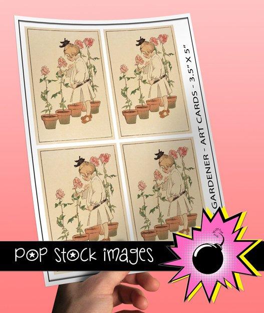 Little Gardener Girl print Cards