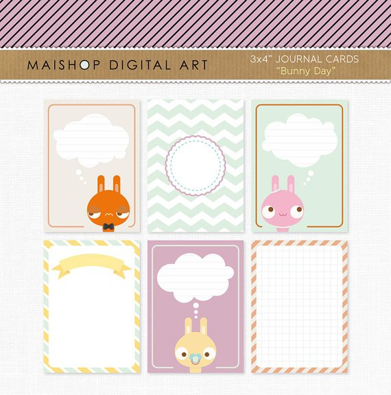 6 Printable Journal Cards Project Life - Bunnies 3x4 inches - Cute Rabbits Cards