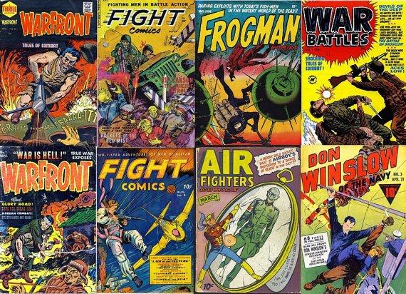 WAR COMIC Books DVD  Golden Age era - Fight Warfront Battles Don Winslow Frogman