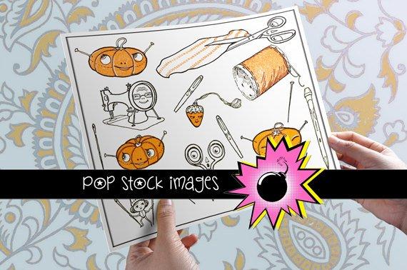 Whimsical Sewing & Needlecrafts Digital Img.-Cartoon Sewing Notions Img.-Sewing Supplies Img.