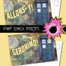 Doctor Who Postcards-print 4x6 Postcards-10th 11th Doctors-TARDIS-Geronimo-ons-y