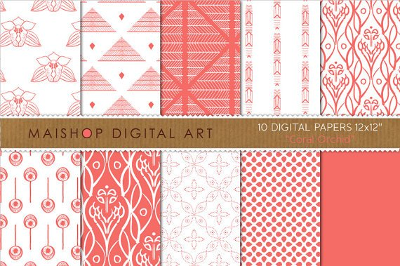 Digital Paper-Coral Orchid-Soft Red Wh FloralAbstractGeometric Img.Photography