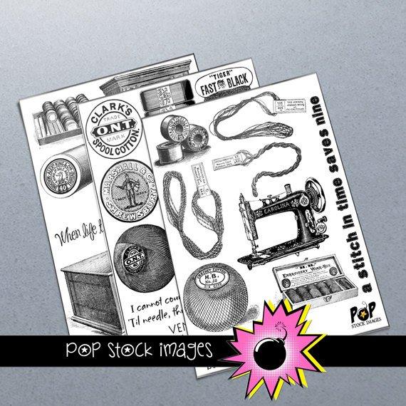 SEWING NEEDLECRAFTS Digital Img.-Set of 3 Collage Sheets of Sewing Img.-Digital Scrapbooking-