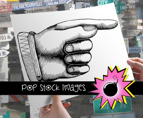 Pointing Finger-Large Digital Image of Pointing Finger-Finger Pointing Busy HDigital Stamp-& Print