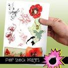 VINTAGE POPPY Digital Img.-Digital TagsStickersDomino print Digital Img.ing-
