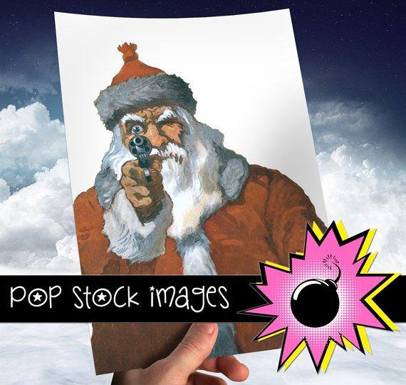 SANTA WITH HGUN Digital Image-Digital Santa Clipart-Hgun Toting Santa-2nd Amendment-Pro Gun Santa