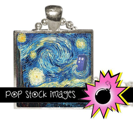 1 Inch Squares DOCTOR WHO Starry Night Collage Sheet-print for PendantsMagnets & Wine Charms-Tardis