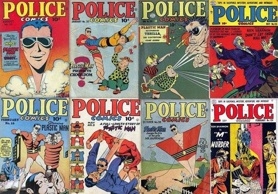 Comic Magazines POLICE COMICS DVD  Jack Cole Plastic Man ebook stories
