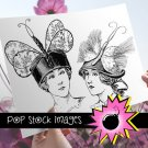 Spring Bonnet Ladies Transfers-VIctorian Ladies in Spring Hats Img. to Print