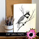 Crowned Bird on Branch Digital Image Transfer-Bird with Crown print for TotesLinensGreeting Cards