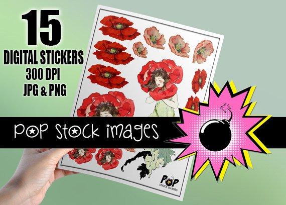 Poppy Flowers & Girl Digital print Sticker Sheet