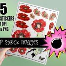 Poppy Flowers & Girl Digital print Sticker Sheet
