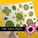 Grn Abstract Geometic Ornaments Collage Sheet-Set of Digital Graphics of GrnYW ,Org Designs