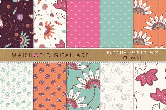 Digital Paper - Chiusca II - Blu, Grn, Pink,Org, Lilac, Digital Sheets