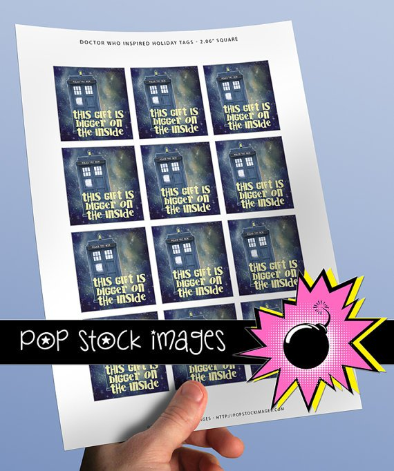 Doctor Who Inspired Digital HOLIDAY tags-2-inch Square-TARDIS-Dr. Who Christmas Tags-print