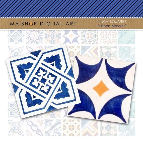1' Digital Collage Sheet Squares Lisbon Mosaic Tiles - Portuguese Azulejos