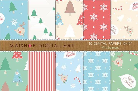 Digital Paper-Christmas-BluGrnRedBeigeWh Tree PatternsStripesSnow FlakesMerry Christmas Backgrounds